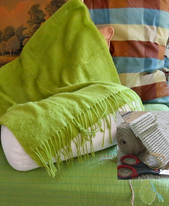 Green Scarf made into Pillow with rubber bands and ties.