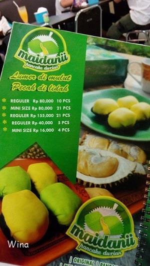 menu pancake durian maidanii