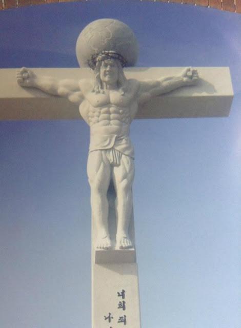 Ésta es la imagen de un Jesús ridículamente musculoso encontrado en Corea