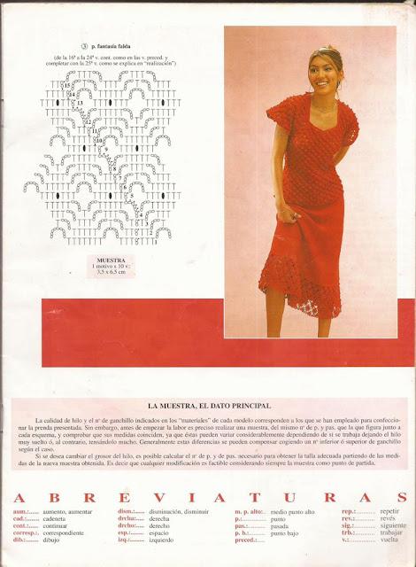 Patrón para tejer Conjunto de Blusa y Falda