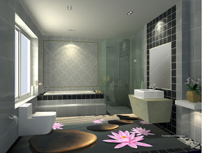 floral 3D bathroom floor designs