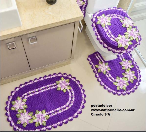 Jogo de Banheiro em Crochê na Cor Ultravioleta