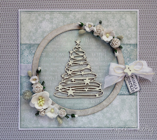Frosty Christmas / Winter card with chipboard tree and flowers