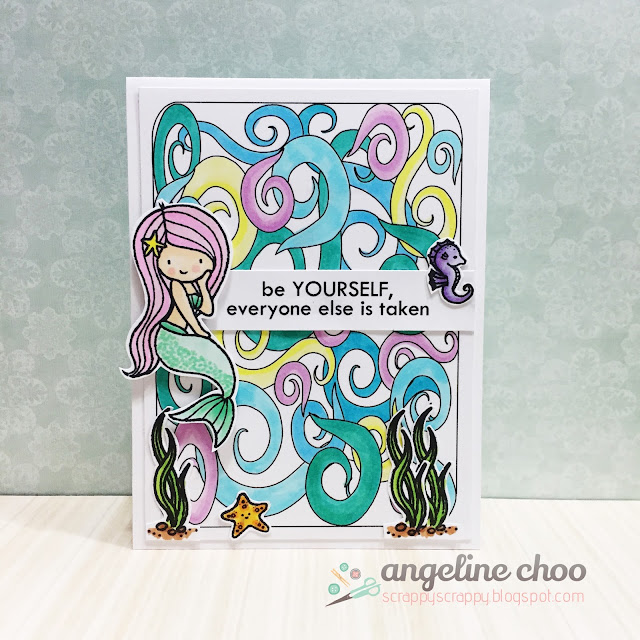 ScrappyScrappy: Underwater Mermaid Card #scrappyscrappy #thecuttingcafe #stamp #card #papercraft #coloring #copic #lovecynthia #mermaid #underwater