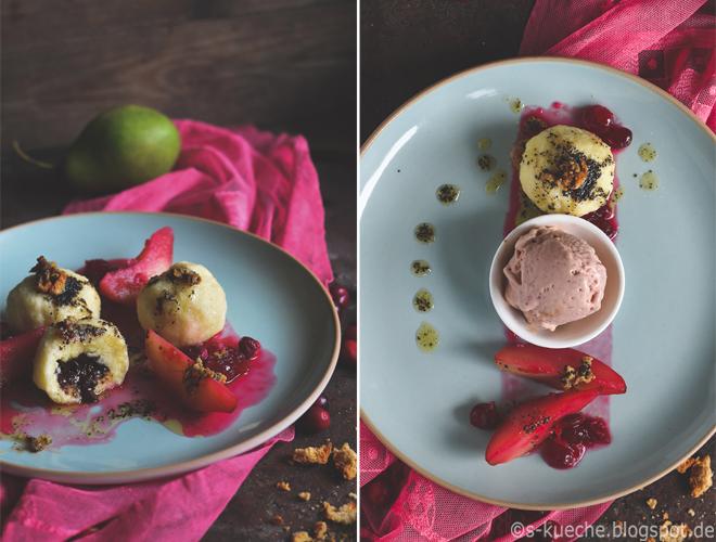 Topfen-Grießknödel mit Mohnbutter und Birnen-Cranberry-Kompott
