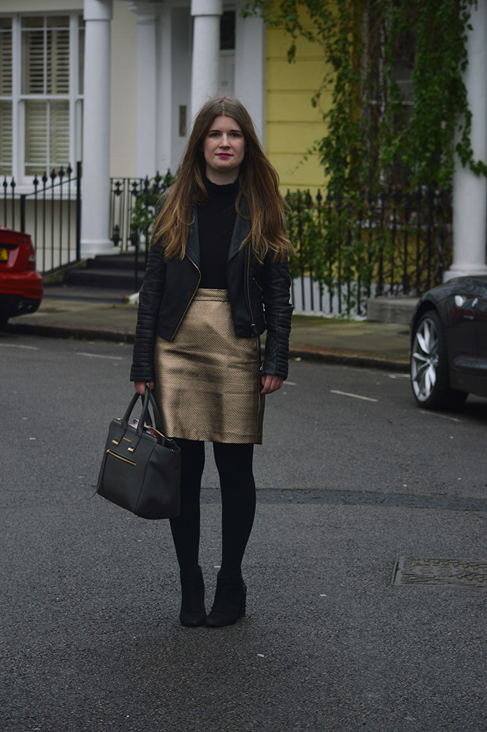 warehouse gold skirt bloggers