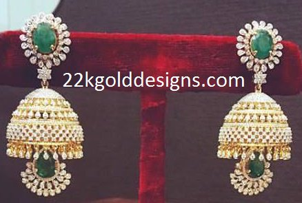 Emerald Diamond Jhumkis