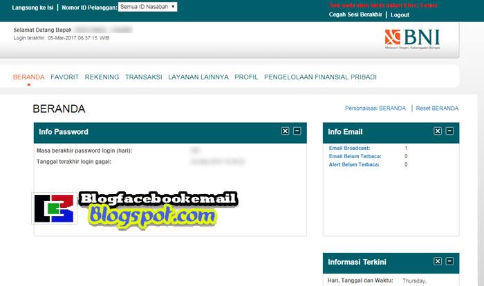 halaman dashboard situs ibank bni online
