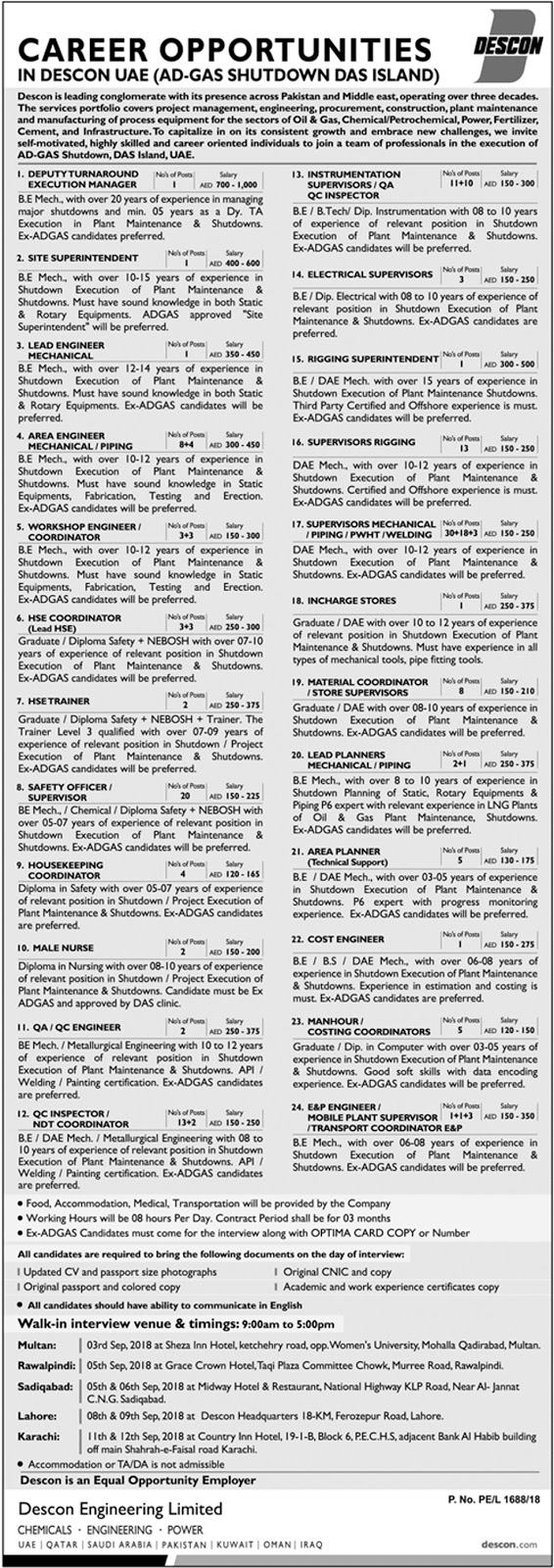Descon Engineering Limited (SHUTDOWN) United Arab Emirates Jobs