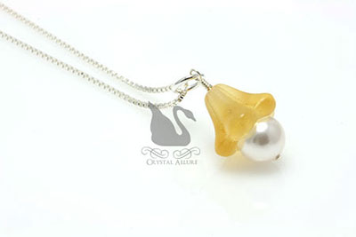 Czech Yellow Flower Blossom Pearl Drop Pendant (P05-Y)