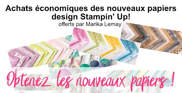 achats économiques papiers design Stampin' Up! par Marika Lemay