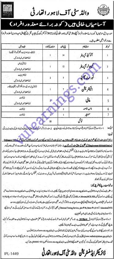 Job in Wild City of Lahore Authority