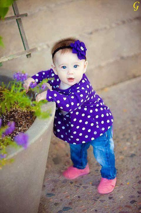 Cute Baby Girl in Blue Dress images