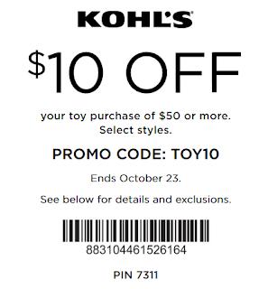 Kohls coupon $10 off $50 Toy order october 2016