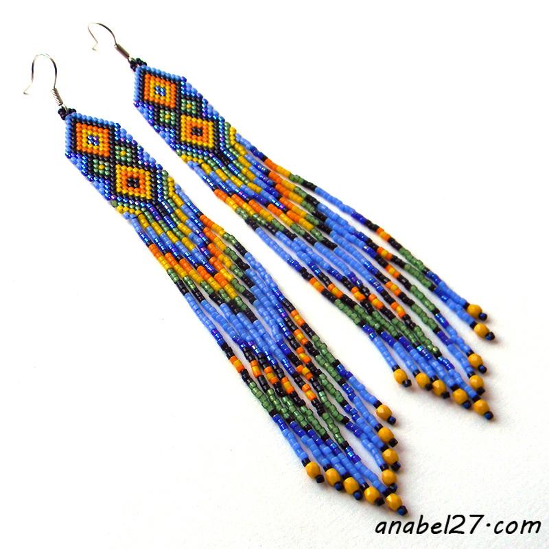 индейские серьги из бисера длинные купить анабель