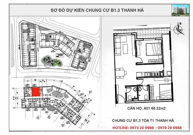 Sơ đồ chi tiết căn hộ A01 chung cư T1 Thanh Hà
