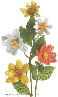 Цветок георгин из бисера параллельным плетением