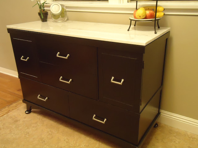 Redone buffet with marble remnant :: OrganizingMadeFun.com