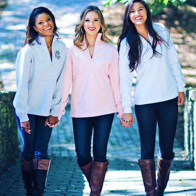 girls wearing monogrammed pullover sweatshirt