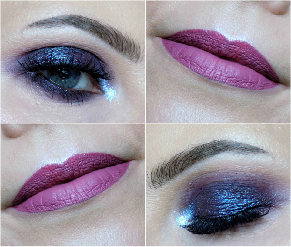 deep purple smokey eyes and mauve lips