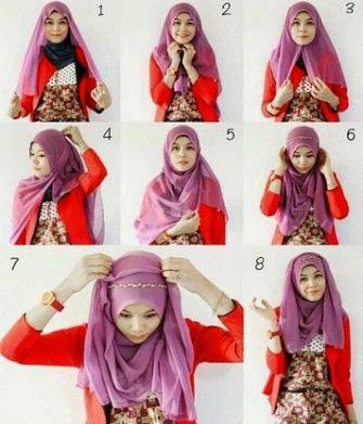 cara memakai hijab segitiga praktis