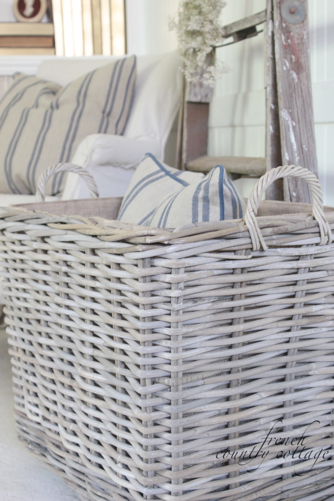 Chunky Baskets & French Stripe Pillows - FRENCH COUNTRY COTTAGE