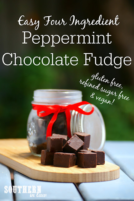 Refined Sugar Free Peppermint Chocolate Fudge Recipe - christmas candy, healthy homemade christmas gifts, gluten free, refined sugar free, healthy, vegan, clean eating friendly