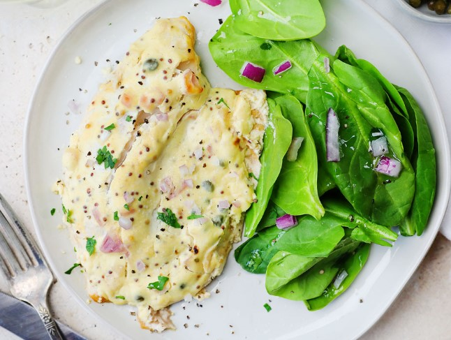 ROASTED TILAPIA WITH MUSTARD SAUCE