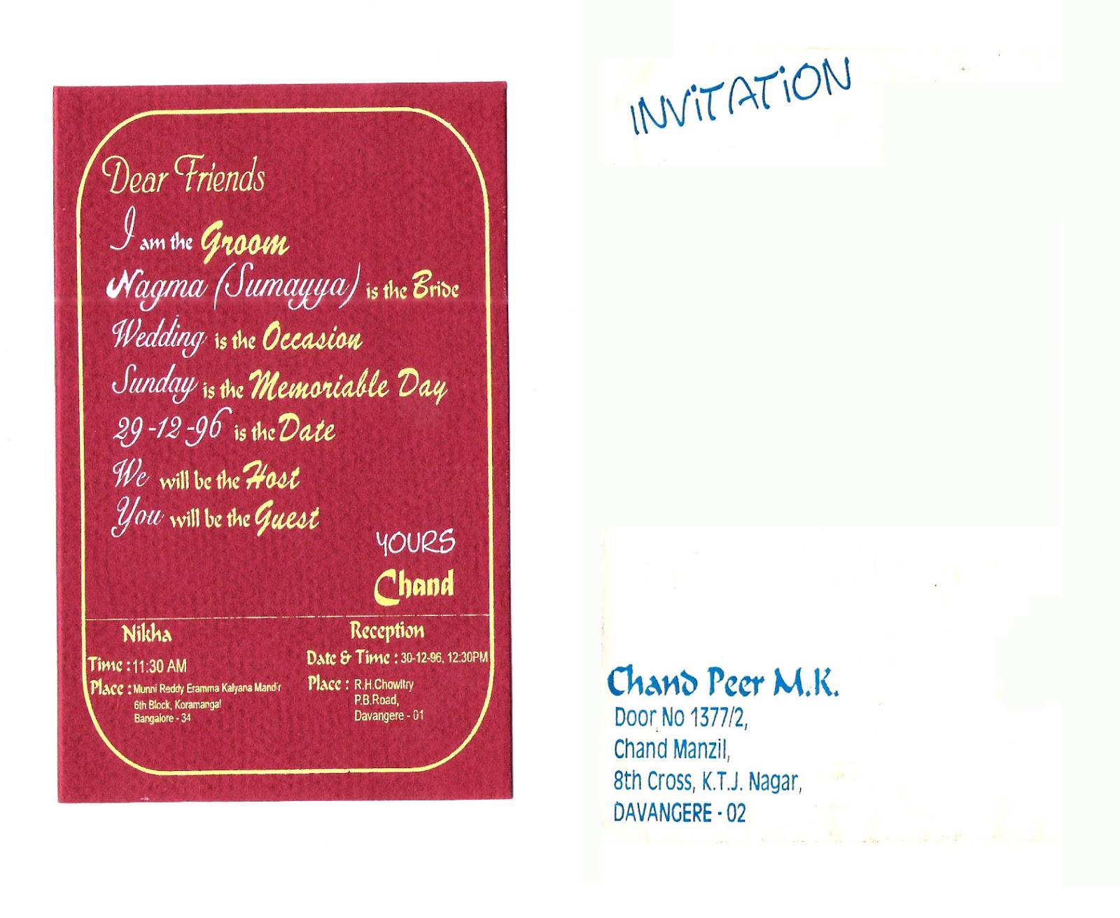 Creativity: Wedding Card Matters and Desings