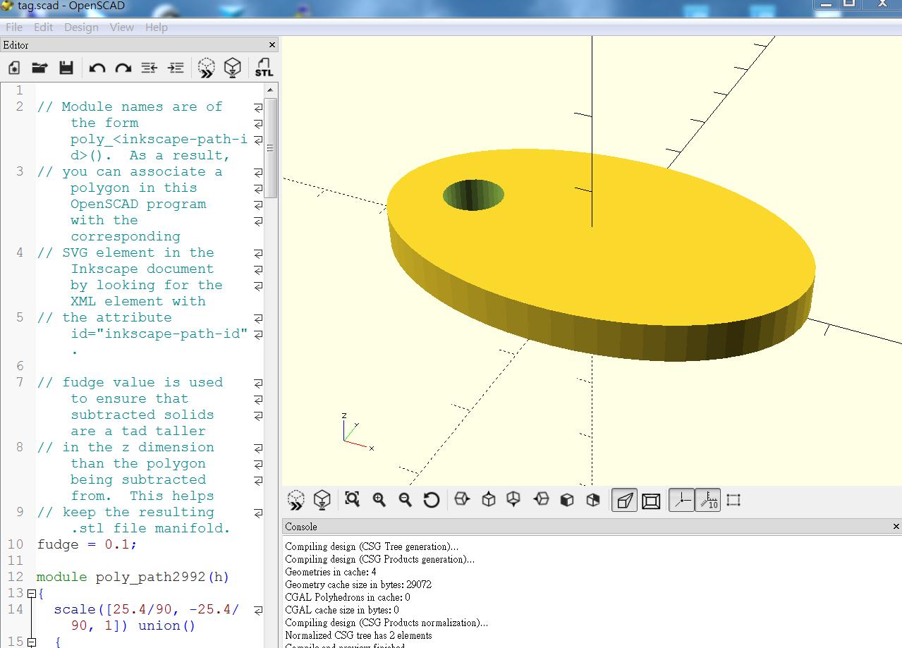 Ali's Wonderland: 利用 InkScape製作3D(3):將.scad檔轉成 .stl檔