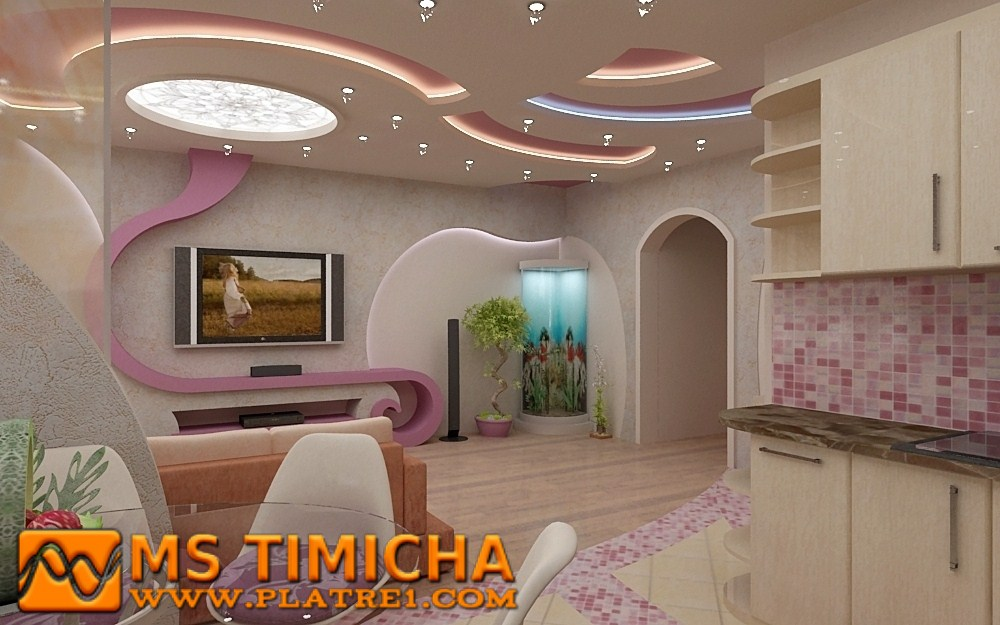 Signs modern tv cabinet wall units gypsum ceiling for living room decoration platre plafond - Decor platre maroc ...