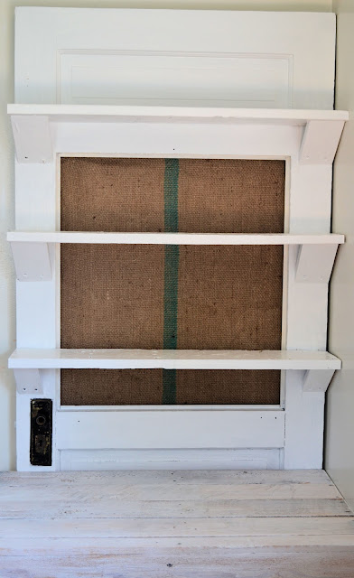 Door Repurposed into Kitchen Shelf