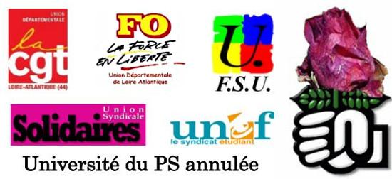 Université du PS annulée