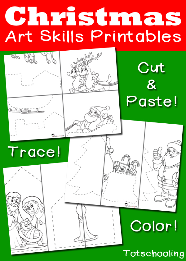 Free Christmas Cutting, Tracing & Coloring pack featuring Santa riding his sleigh, Santa next to a Christmas tree, and a nativity scene! Practice scissor skills, tracing and coloring!