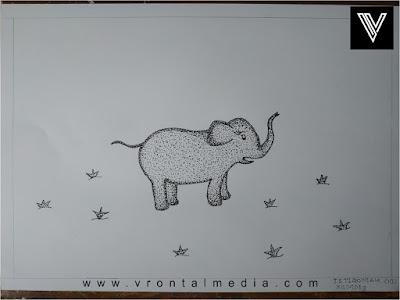 contoh gambar pointilis gajah