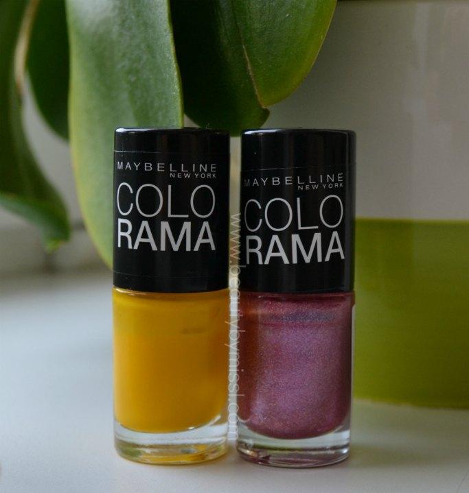 pink, yellow nail polishes