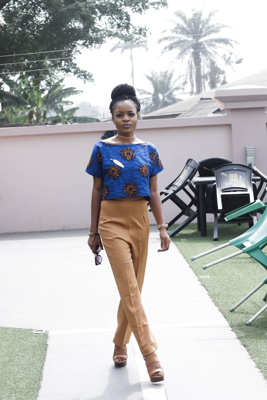 Brown/tan wide leg pant, ankara blouse,cateye glasses Cedar Adinfono, oncedarplanet