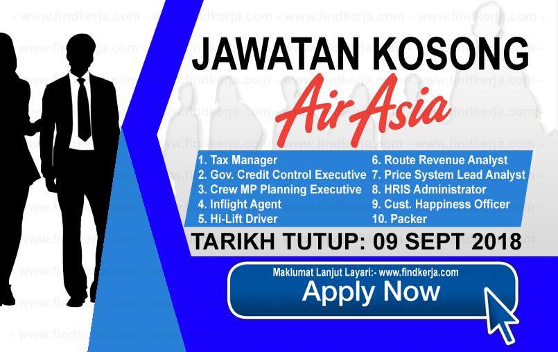 Jawatan Kerja Kosong AirAsia Berhad logo www.ohjob.info www.findkerja.com september 2018