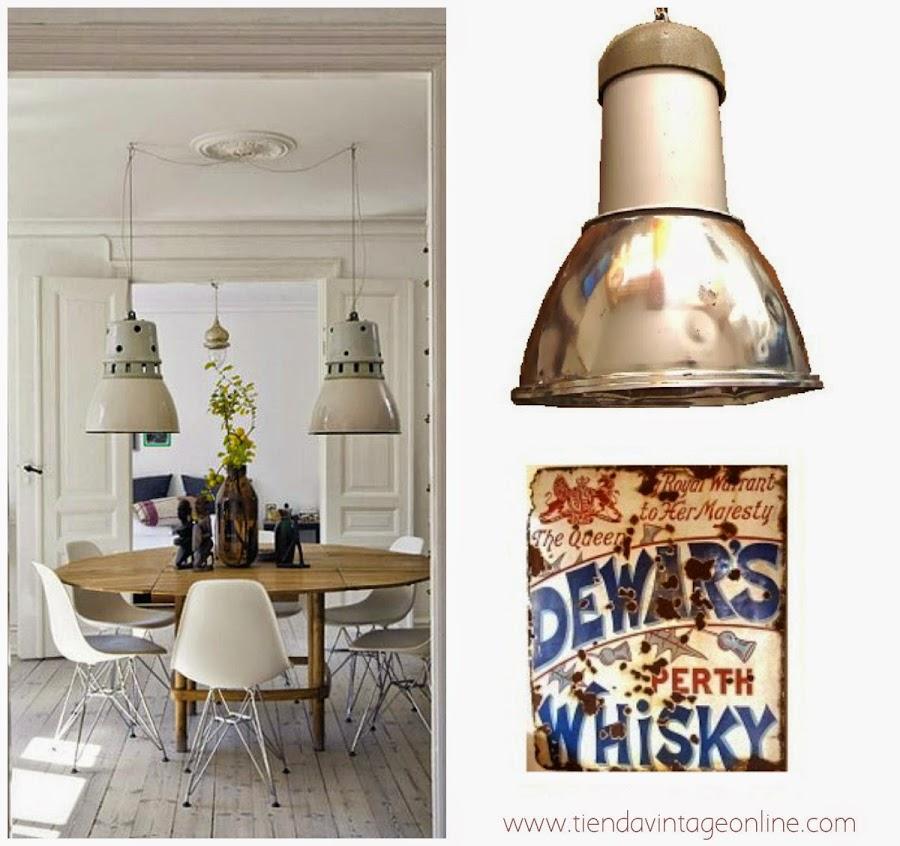 decorar Comedor sueco con lampara industrial