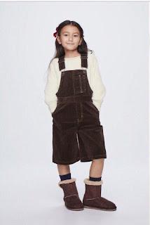 Quần yếm nhung bé gái xịn dư hiệu Gu, made in cambodia.