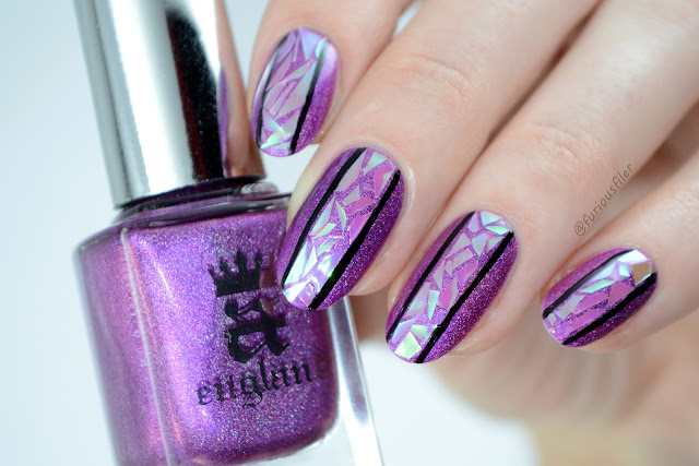 Glass nails trend paper holographic furious filer violet