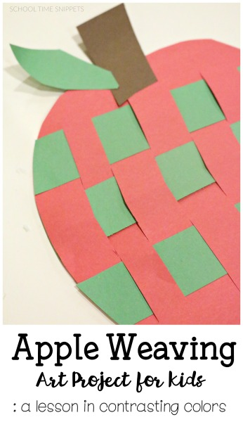 paper weaving apple craft