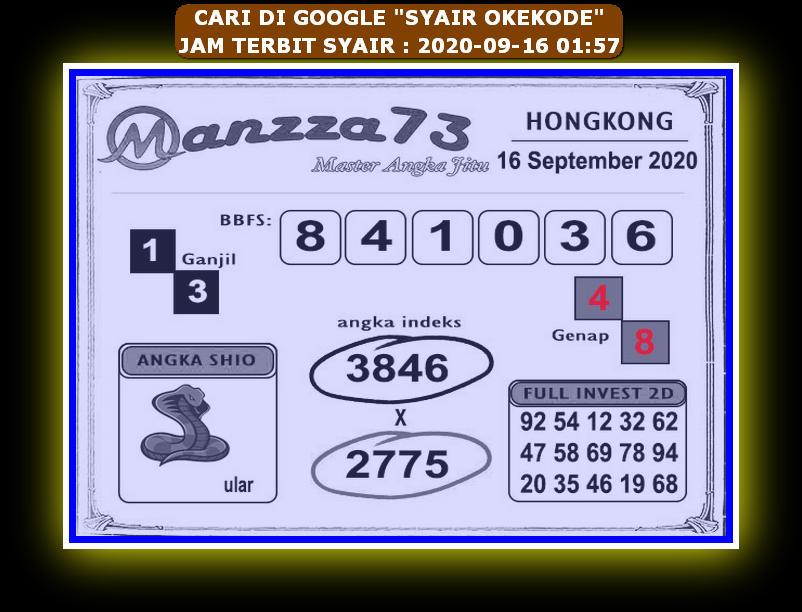 Kode syair Hongkong Rabu 16 September 2020 245