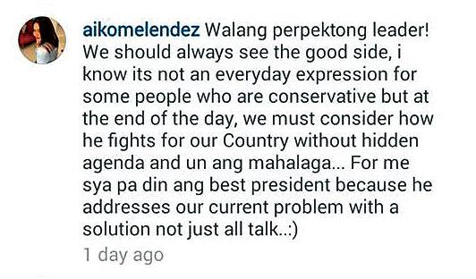 Aiko Melendez defended Pres. Duterte: Siya pa rin ang Best President: