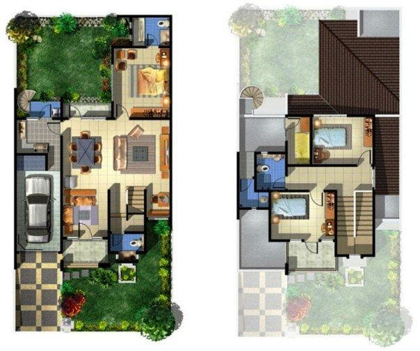 Contoh Denah Rumah Minimalis 2 Lantai