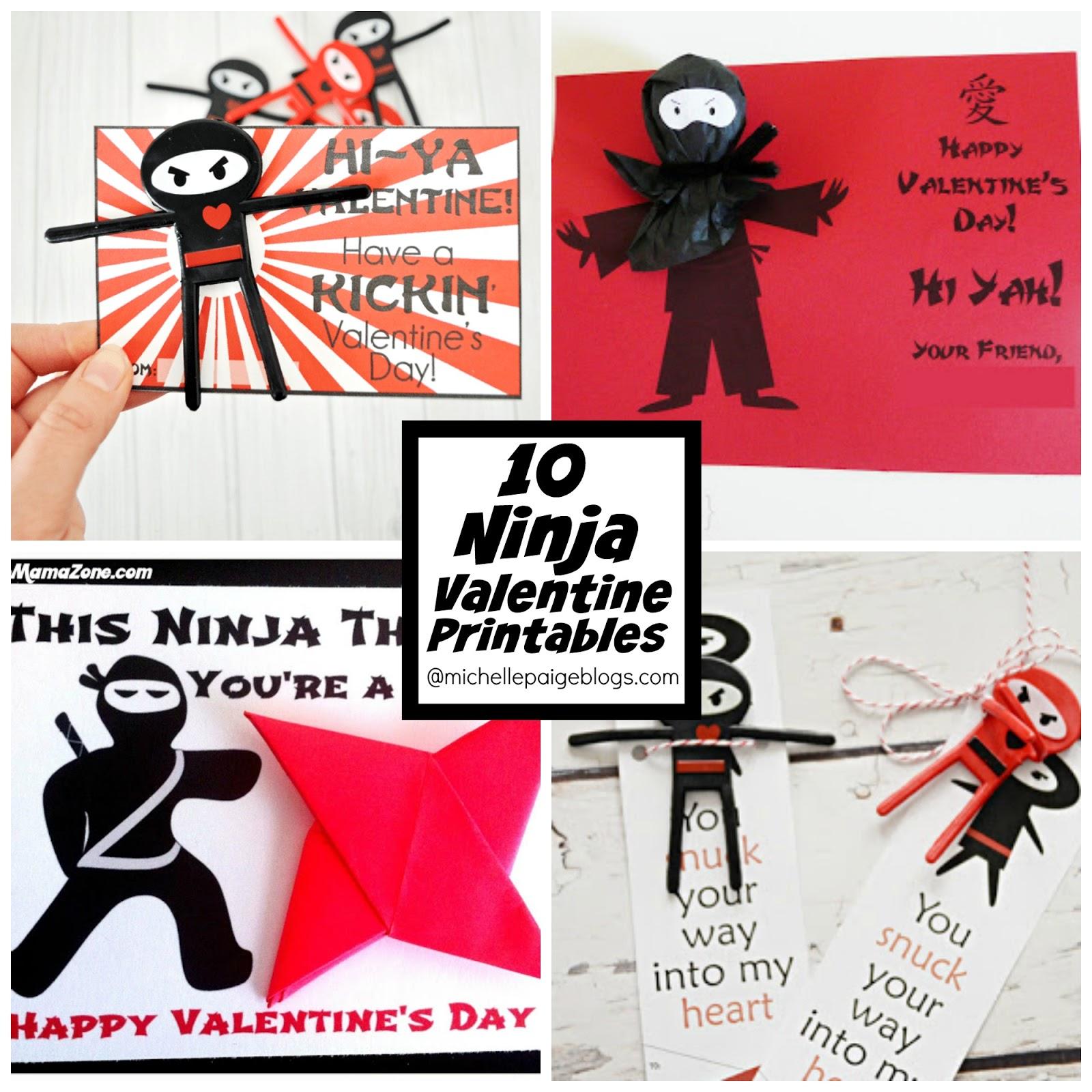 Michelle Paige Blogs 10 Printable Ninja Valentines