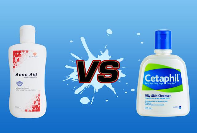 เปรียบเทียบ acne aid สีแดง vs cetaphil สูตรผิวมัน