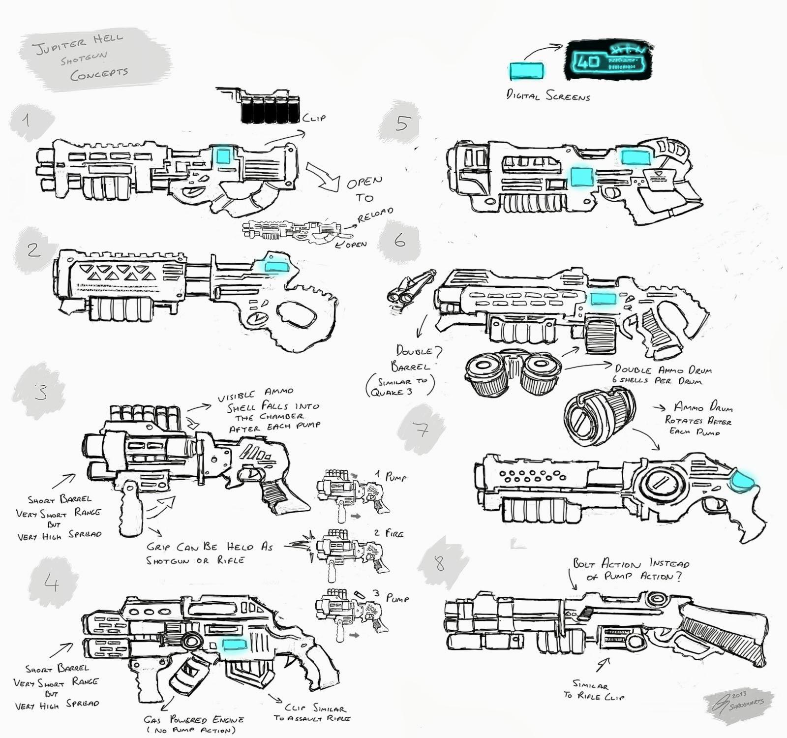 Shroomarts Jupiter Hell Pump Action Shotgun Diagram Concepts
