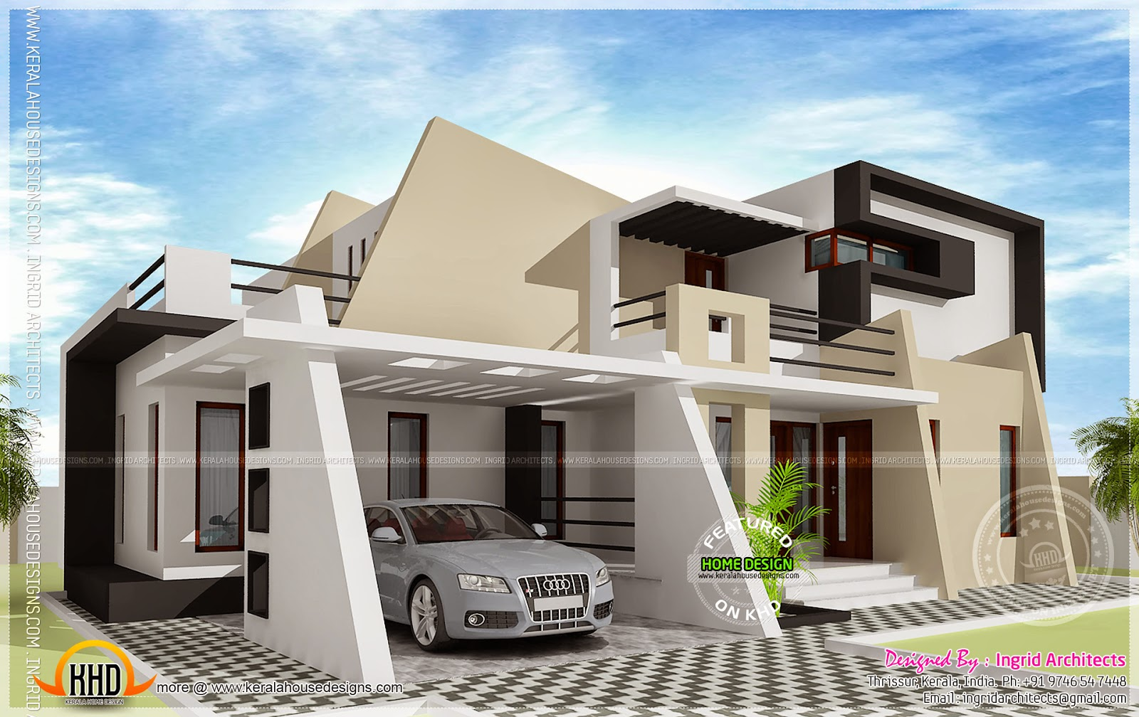 316 square meter contemporary home kerala home design for Modern home plans and designs