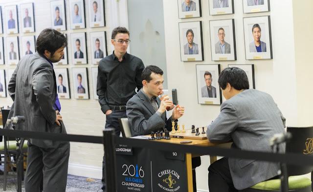 Caruana y Nakamura observan la partida de Wesley So